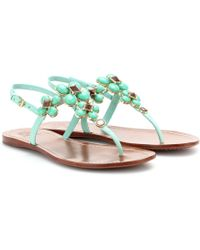Tory Burch Jameson Embellished Leather Sandals - Lyst