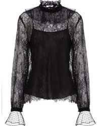 Vilshenko Black Sheer Lace Ruffle Blouse - Lyst