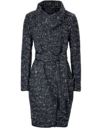 Donna Karan New York Wool Blend Coat with Leather Piping - Lyst