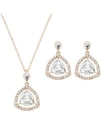 Swarovski Backstage Rose Gold-tone and Crystal Earrings and Necklace Trio - Lyst