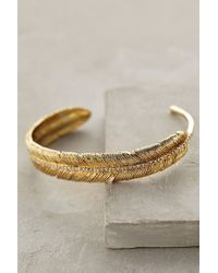 Anthropologie Gold Feathered Cuff - Lyst