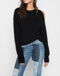 7 For All Mankind - Split Sleeve Sweater In Ebony Black - Lyst