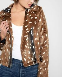 7 For All Mankind - Faux Fur Moto Jacket In Fawn - Lyst