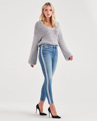 7 For All Mankind - Luxe Vintage High Waist Ankle Skinny With Silver Lurex Stripe In Muse - Lyst