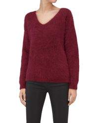 7 For All Mankind - Slouchy V-neck Sweater Mixed Fabrics Burgundy - Lyst