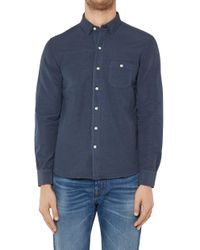 7 For All Mankind - Button Down Shirt Cotton Linen Navy - Lyst