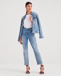7 For All Mankind - Luxe Vintage Edie With All Over Pearl Studs And Zip Fly In Flora - Lyst
