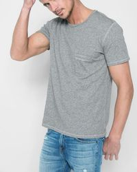 7 For All Mankind - Short Sleeve Raw Pocket Crew In Heather Grey - Lyst