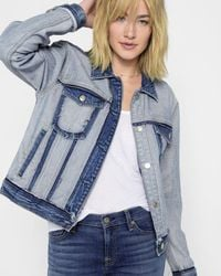 7 For All Mankind - Boyfriend Jacket With Destroy In Inside Out - Lyst
