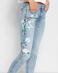 7 For All Mankind - Ankle Skinny With Hand Painted Floral In Radiant Wythe - Lyst