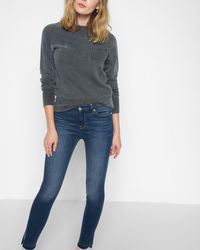 7 For All Mankind - B(air) High Waist Ankle Skinny With Released Side Hem Splits In Manhattan - Lyst