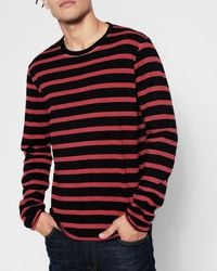 7 For All Mankind - Long Sleeve Stripe Crew In Red - Lyst