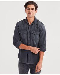 17e11c4abd7 7 For All Mankind - Western Denim Shirt In Greystone Black - Lyst