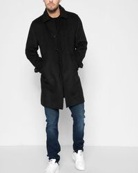 7 For All Mankind - Modern Wool Overcoat In Black - Lyst