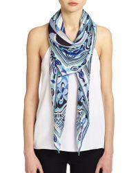 Emilio Pucci Tessellated Silk Scarf multicolor - Lyst