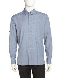 John Varvatos Graphcheck Poplin Sport Shirt - Lyst