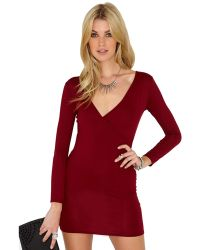 Missguided Basilia Burgundy Wrap Over Jersey Mini Dress - Lyst