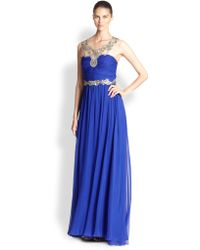 Notte By Marchesa Embellished Illusion-neck Gown - Lyst