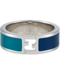 Fendi Bicolour Ring Ocean Lake Silver - Lyst