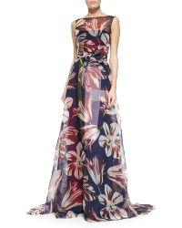 Carolina Herrera Tulip-Print Organza Gown - Lyst