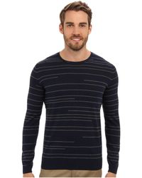 Calvin Klein Cotton Broken Stripe Crew Neck Sweater - Lyst