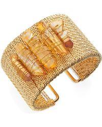 Panacea - Rock Crystal Cuff Bracelet - Lyst