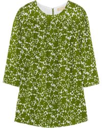 Michael Kors Gathered Floral-Print Blouse - Lyst
