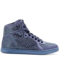 Gucci Crystalembellished Satin Hightops - Lyst