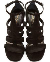 Saint Laurent - Black Suede Jane Heels - Lyst