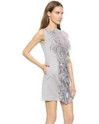DSquared² Feathered Paillette Dress - Grey - Lyst