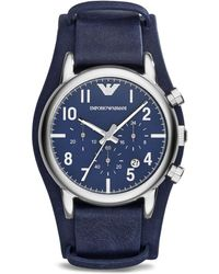 Emporio Armani Blue  Stainless Steel Chronograph Watch 41mm - Lyst