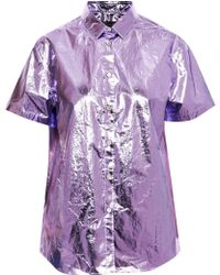 Burberry Prorsum Metallic Coated Cotton Shirt - Lyst
