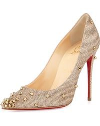 Christian Louboutin - Degraspike Studded Glitter Red Sole Pump - Lyst