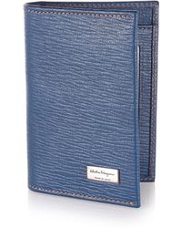 Ferragamo Revival Textured Leather Card Case blue - Lyst