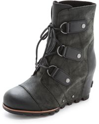 Sorel Joan Of Arctic Wedge Booties Grill Black - Lyst