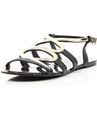 River Island Black Gold Trim Gladiator Sandals - Lyst