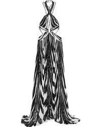 Roberto Cavalli Cutout Printed Plissé-Silk Gown - Lyst