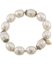Carolee - 14k Antique Goldtone Glass Pearl Stretch Bracelet - Lyst