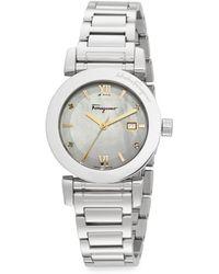 Ferragamo Diamond Mother-of-pearl  Stainless Steel Watch - Lyst