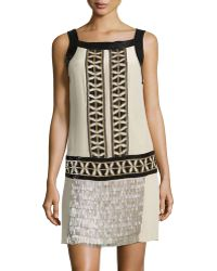Philosophy di Alberta Ferretti Patterned Sequin And Beaded Shift Dress - Lyst