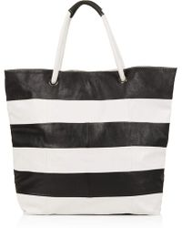Topshop Stripe Leather Shopper - Lyst