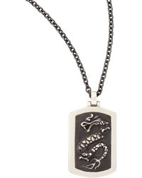 John Hardy Naga Mens Silver Dragon Dog Tag Necklace - Lyst