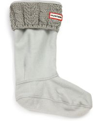 Hunter Cable-Knit Cuff Welly Socks black - Lyst