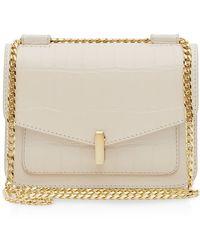 Reiss Shoulder Bag - Elliott Lock Croc-Embossed beige - Lyst