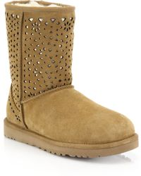 Ugg | Classic Short Flora Perforated Boots | Lyst