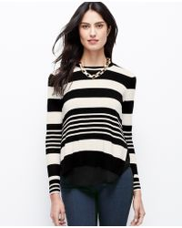 Ann Taylor Striped Twoinone Sweater - Lyst