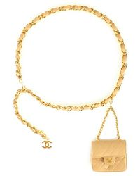 Chanel Pre-Owned Beige Mini Waist Bag - Lyst