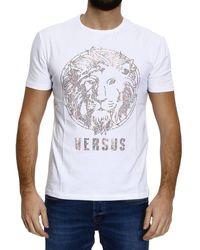 Versus  Mezza-Manica-Girocollo-Logo-Borchiette-Color white - Lyst