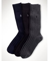 Ralph Lauren Solid Ribbed Sock 3-Pack - Lyst