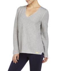 English Laundry - V-Neck Studded Shoulder Knit Sweater - Lyst